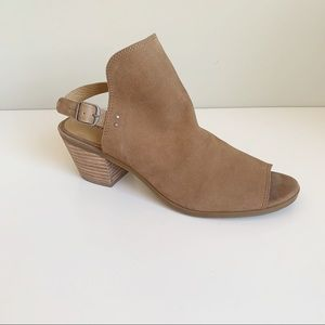 Lucky Brand taupe peep toe sling back sandals 8.5